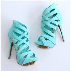 $ 75.79 gorgeous coppy leather cut outs platform high heel sandals