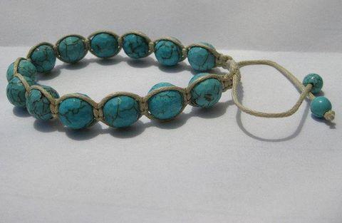 Shamballa turquoise macrame stone bead braclet adjustable friendship — thevintagerack