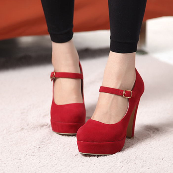 shipping Fahion Mary Janes Platform Pumps Buckle Block Heel Sexy ...