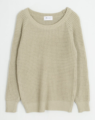 sweater waffle knit chunky off the shoulder cream