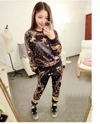 pants trousers chains pattern hiphop stars gold