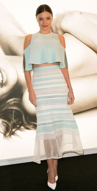 skirt midi skirt miranda kerr pumps stripes top crop tops summer outfits