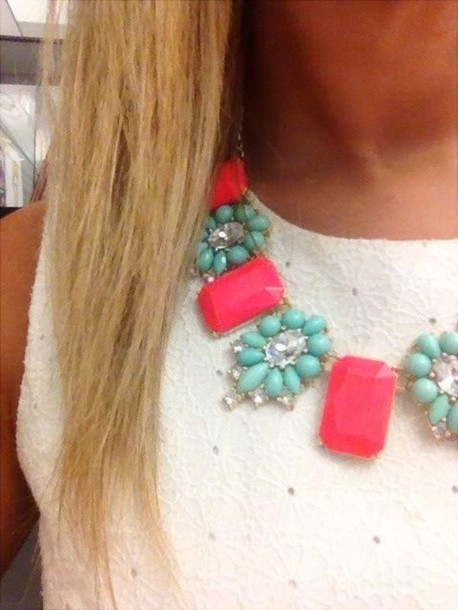jewels statement necklace rhinstones pink and mint necklace