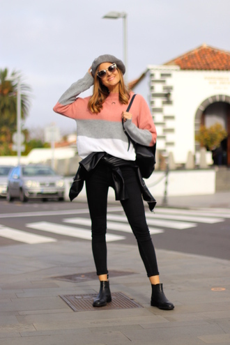 marilyn'scloset pants blogger shoes jacket bag hat jewels sunglasses beret black jeans leather jacket ankle boots spring outfits