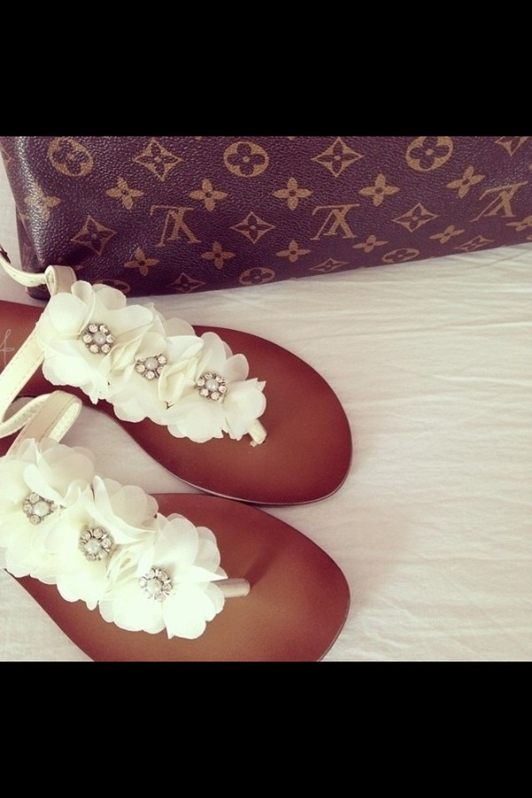 shoes flowerdress white glitter diamonds sandals