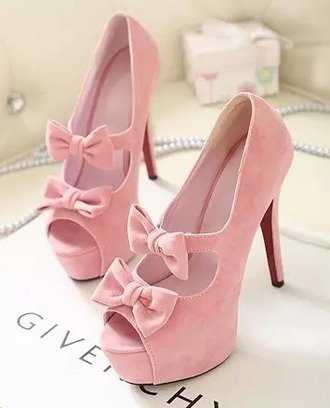 shoes light pink heels bows cute girly fun