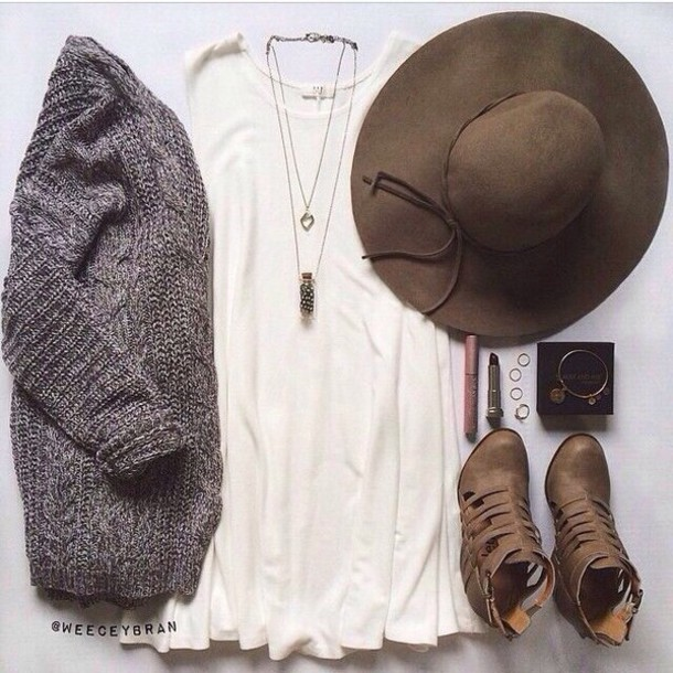 cardigan grey knit cardigan knitwear dress shoes t-shirt dress white dress hat brown hat jewels grey brown shirt shorts charlotte russe boots grey sweater fashion coolture fall outfits fashion vibe long cardigan long sleeves cream