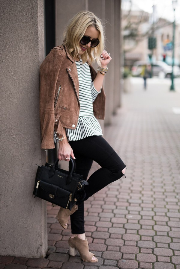gbo fashion blogger top jacket coat jack daniel's brown jacket handbag black bag striped top ankle boots black jeans