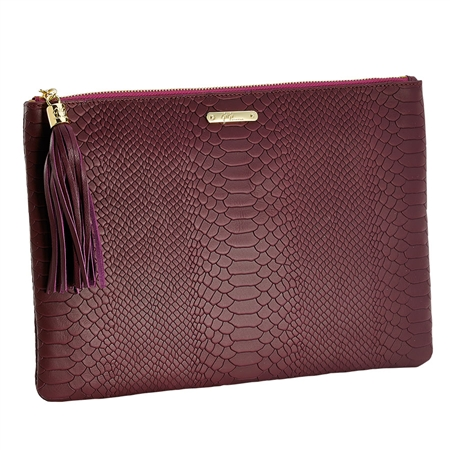 Burgundy Uber Clutch | Embossed Python Leather | GiGi New York