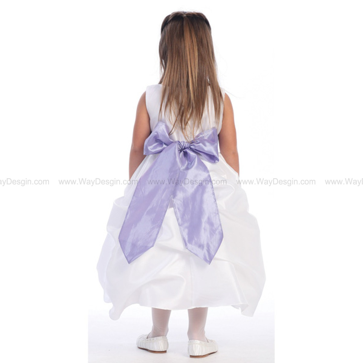 Blossom White Sleeveless Gathered Taffeta Dress Detachable Sash