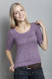sweater,mohair sweater,fitted sleeved,scoop-neck,lilac sweater,short sleeved,viscose top,body hugging