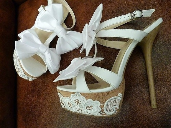cute bows shoes high heels lace cork