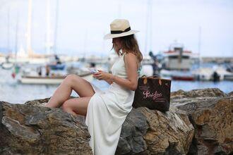 hat white dress sea summer dress white dress