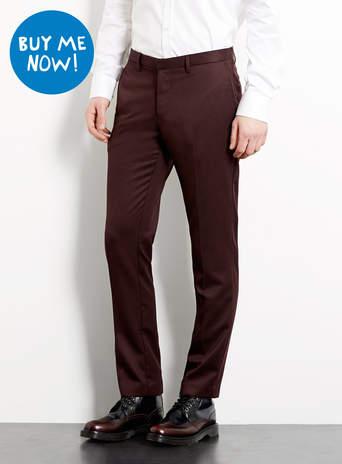 Burgundy Dobby Skinny Trousers - Men's Trousers - Clothing - TOPMAN