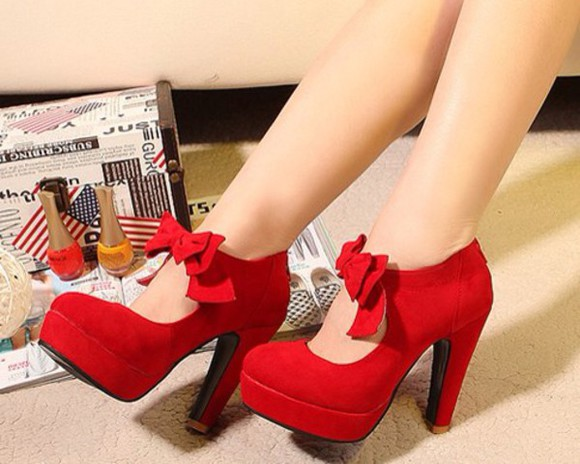 shoes bows high heels redheels