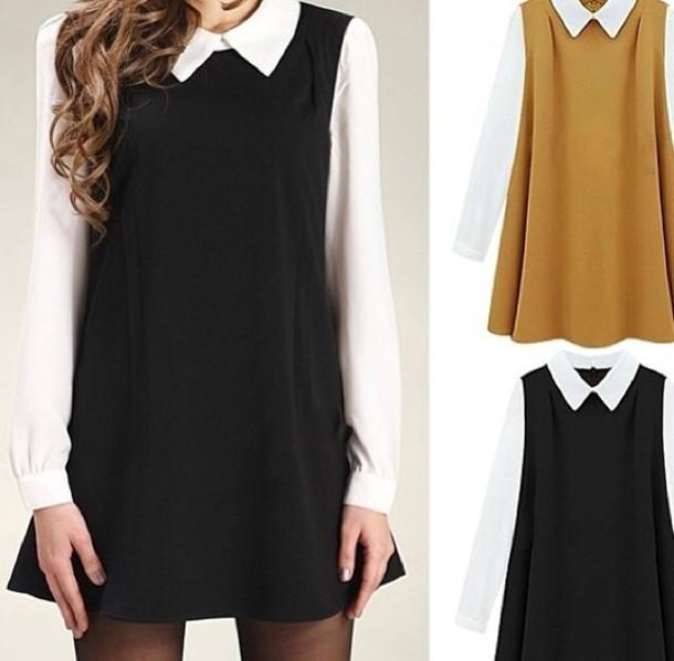 dress black brown back to school blouse