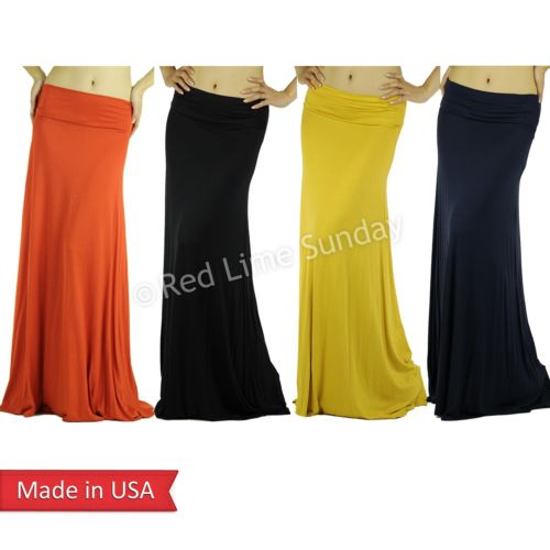 New Orange Fold Over Casual Lightweight Rayon Jersey Flared Long Maxi Skirt USA