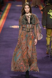 dress,maxi dress,runway,milan fashion week 2017,fashion week 2017,etro,brown