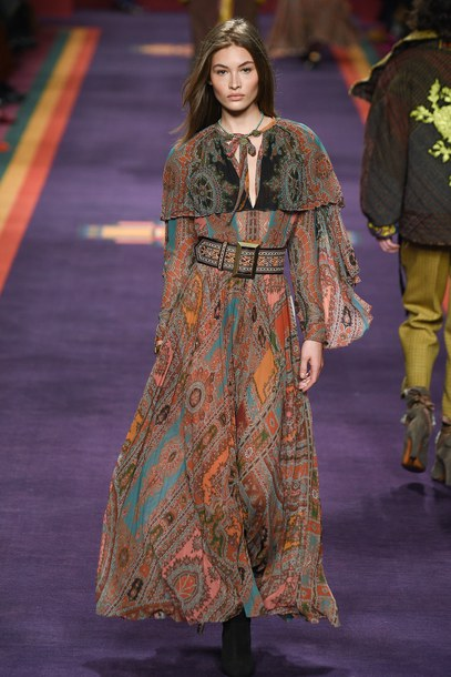 dress maxi dress runway milan fashion week 2017 fashion week 2017 etro brown