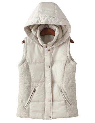 jacket vest waistcoat padded off-white brenda-shop 36683 hoodie beige winter outfits sleeveless zip