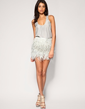 ASOS | ASOS BLACK Maribou Feather Skirt en ASOS