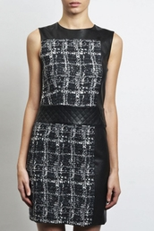 dress,chanel,walter baker,karl lagerfeld,leather dress,leather trim,tweed,tweed dress,wool,plaid,quilted,belted,slightly edgy,nyc style,nyc fashion,day,fashion forward,hip,trendy,mini dress,short dress,black and white,two toned,cute,slick,two tone