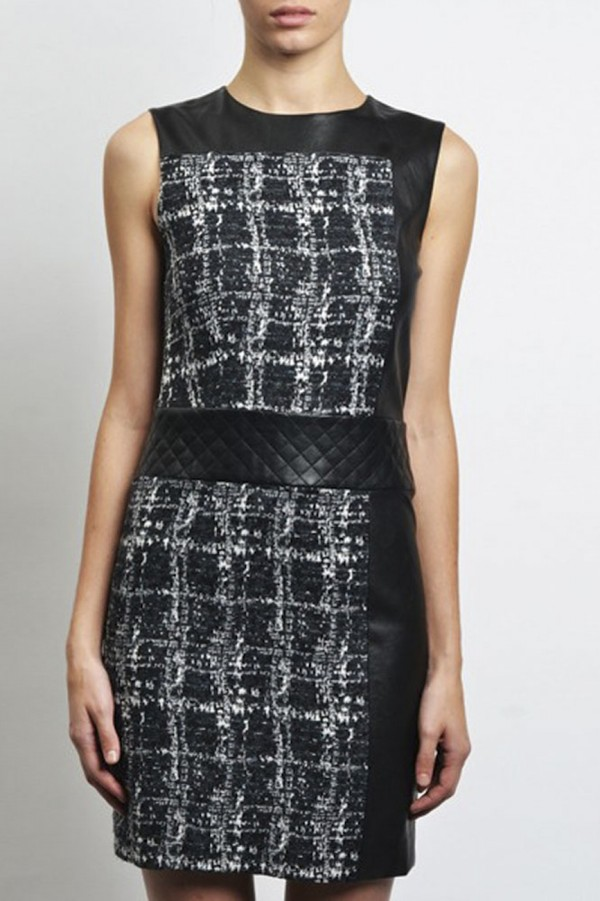 dress chanel walter baker karl lagerfeld leather dress leather trim tweed tweed dress wool plaid quilted belted slightly edgy nyc style nyc fashion day fashion forward hip trendy mini dress mini dress short dress black and white two toned cute slick two tone