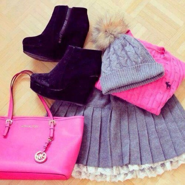 pink silver winter outfits winter outfits winter outfits winter hat hat bag skirt shoes