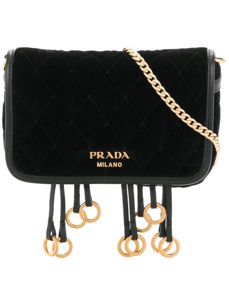 Prada belt bag women bag leather black velvet