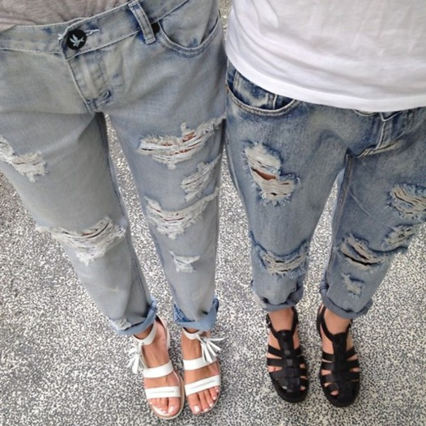 Jeans grunge indie hipster retro denim ripped jeans 70s style - Wheretoget