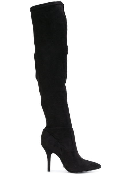 Schutz women boots leather suede black shoes