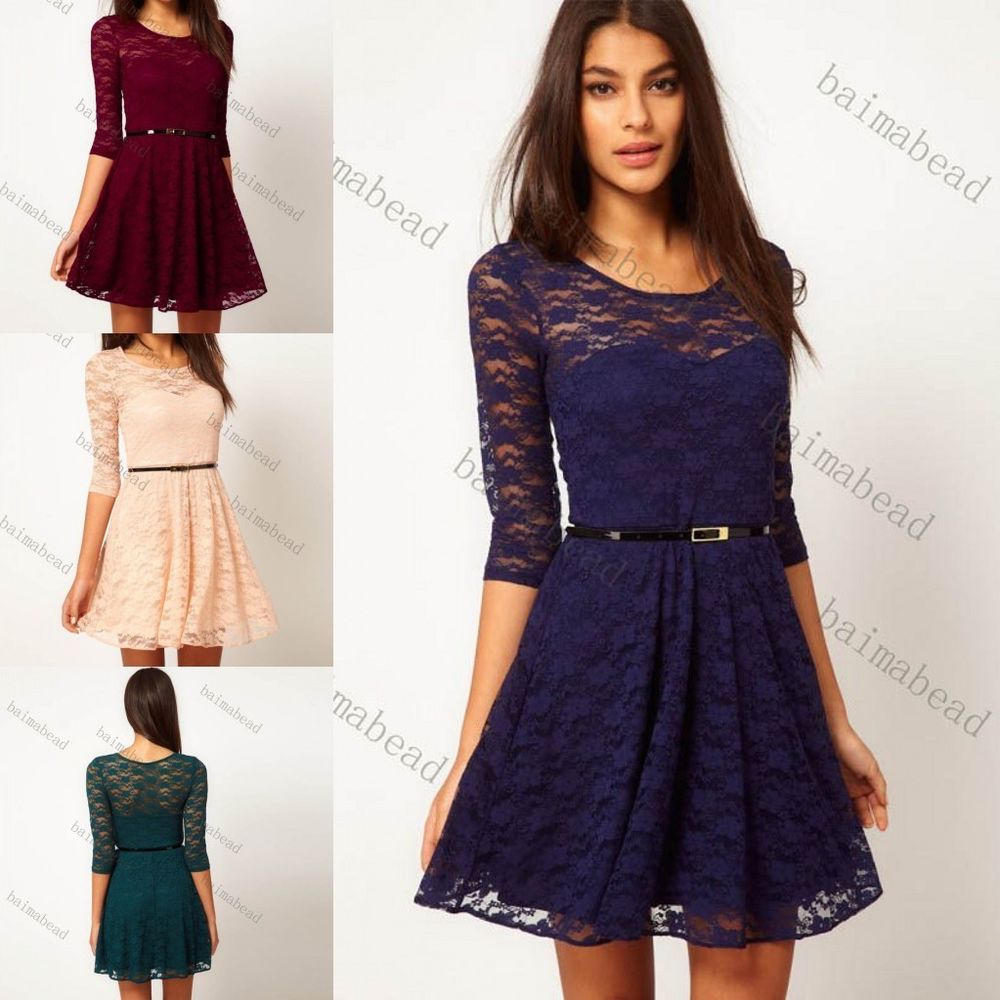 1x Fashion Women Sexy Spoon Neck Lace Skater Party Dress Belt include s M L | eBay