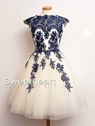 dress lace blue white short prom homecoming formal pattern