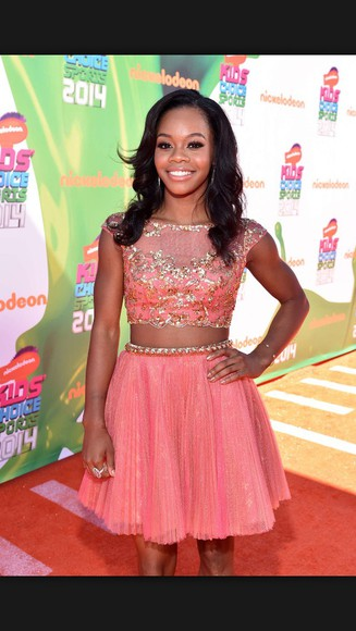 dress two-piece pink dress gabby douglas