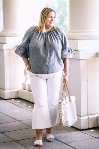 stylishsassy&classy blogger top pants shoes bag slide shoes louis vuitton bag plus size white pants