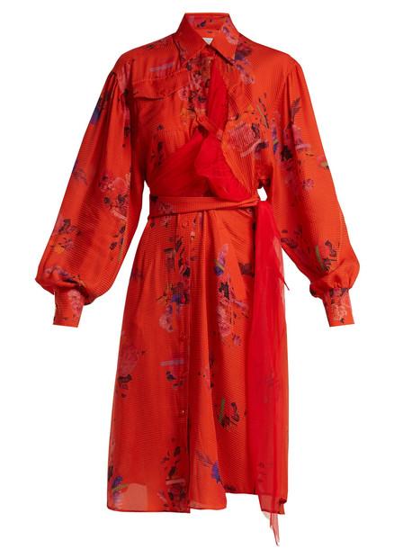 shirtdress floral print silk red dress