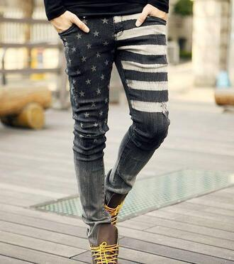 jeans american flag skinny pants alex gaskarth usa flag all time low