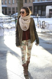 nany's klozet,pants,shoes,jacket,scarf,bag,sunglasses,floral pants,jeans,skinny,skinny jeans,flowers,cute,floral,sweater