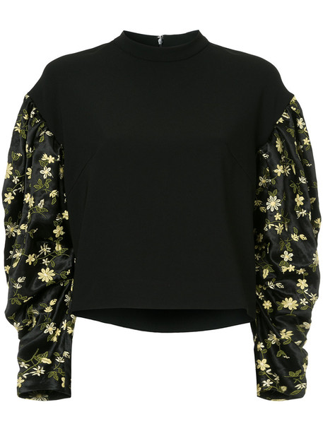 top embroidered women cotton black