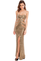 dress,sequin dress,champagne dress,gold,gold sequins dress,gold long dress,front split  dress