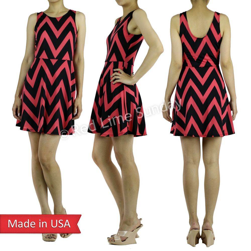 New Women Trend Chevron Zigzag Stripe A Line Flared Skirt Mini Summer Dress USA