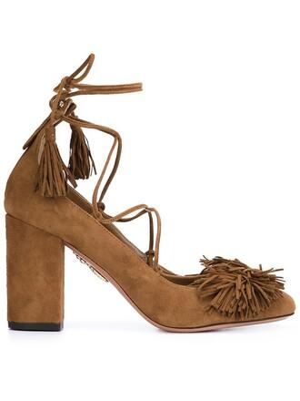 tassel pumps brown shoes