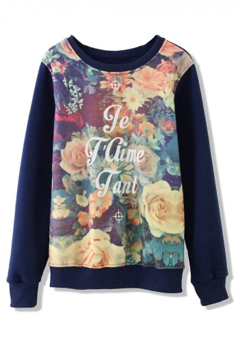 Retro Floral Print Sweater in Navy Blue - Retro, Indie and Unique Fashion