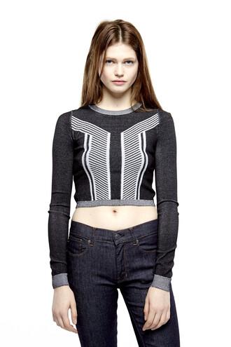 top geometric optical crop tops cropped sweater