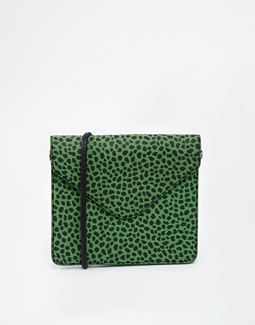 Monki Pepita Bag in Green Leopard Print at asos.com