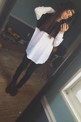 top white and black top pants hat