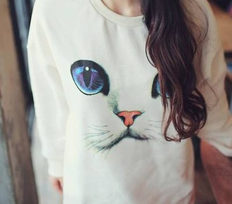 sweater cats white sweater hipster