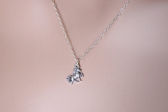 Unicorn Necklace Sterling Silver Fantasy by beadxs on Etsy