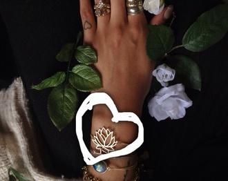 jewels bracelets boho hippie flowers floral lotus boho jewelry bohemian bracelet hippie jewelry lotus flower bracelet chains