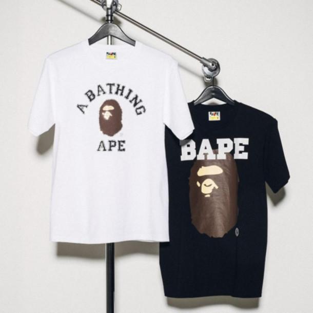Shirt Bape Bathing Ape White Black T Shirt Hanger